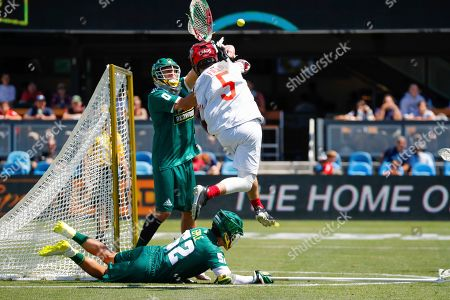 Stock Image of The Chaos' Connor Fields attempts a goal against the Redwoods during a Premier Lacrosse League game on in San Jose, Calif