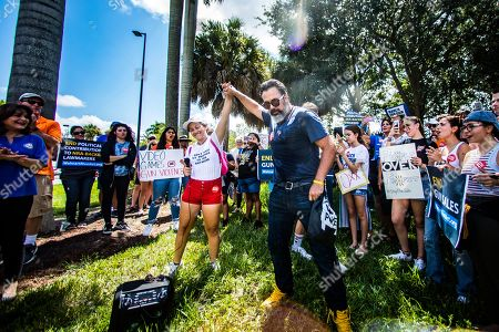 Manuel Oliver and Emma Gonzalez are joined by members of the community to protest Walmart's continued sales of guns in many of their locations. The protest was held in front of the Heron Bay Walmart in Florida