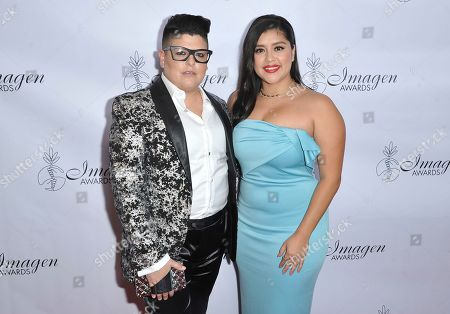 Ser Anzoategui, Chelsea Rendon. Ser Anzoategui, left, and Chelsea Rendon arrive at the 34th annual Imagen Awards, at the Beverly Wilshire Hotel in Beverly Hills, Calif
