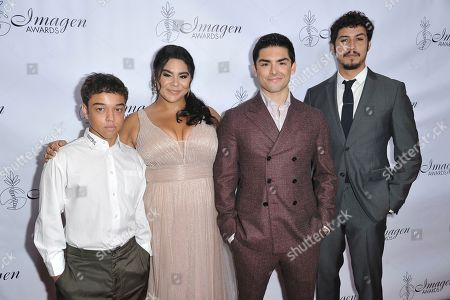 Jason Genao, Jessica Marie Garcia, Diego Tinoco, Julio Macias. Jason Genao, from left, Jessica Marie Garcia, Diego Tinoco and Julio Macias arrive at the 34th annual Imagen Awards, at the Beverly Wilshire Hotel in Beverly Hills, Calif