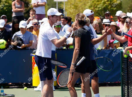 Stock Photo of Former world Number One and two times Grand Slam champion Amelie Mauresmo (FRA) practices with Andy Murray (GBR) ahead of the Western & Southern Open, Cincinnati