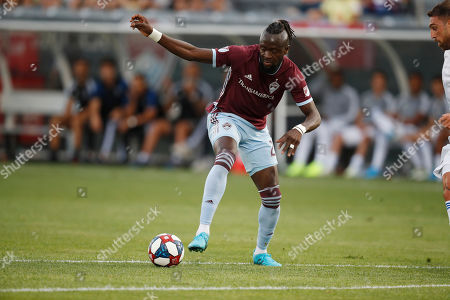 R m. Colorado Rapids forward Kei Kamara (23) in the first half of an MLS soccer match Saturday, Auig. 10, 2019, in Commerce City, Colo
