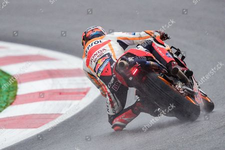German MotoGP rider Stefan Bradl of Repsol Honda Team in action during the warm-up before the MotoGP of Austria at the Red Bull Ring in Spielberg, Austria, 11 August 2019.
