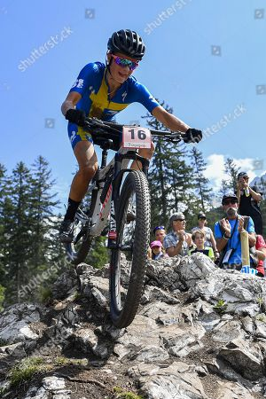 Jenny Rissveds of Sweden in action during the UCI Cross Country Mountain Bike World Cup race in Lenzerheide, Switzerland, 11 August 2019.