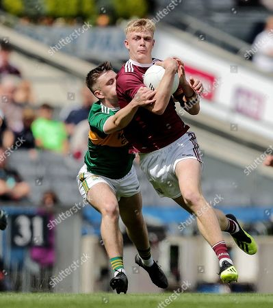 Kerry vs Galway . Galway's James McLaughlin and Adam Curran of Kerry
