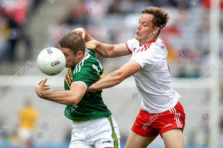 Stock Image of Kerry vs Tyrone. Kerry's Stephen O'Brien and Kieran McGeary of Tyrone