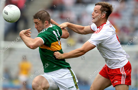 Kerry vs Tyrone. Kerry's Stephen O'Brien and Kieran McGeary of Tyrone