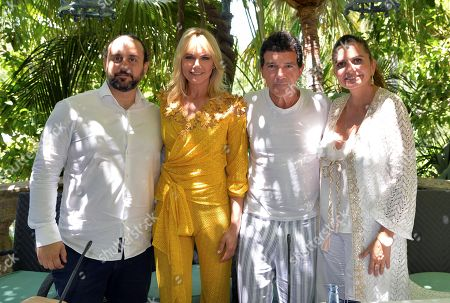 Antonio Banderas (2-R), Argentinian model Valeria Mazza (2-L), and Starlite Gala co-founders Sandra García Sanjuan (R) and Ignacio Maluquer (L) attend a press conference before the dinner of 10th Starlite Gala in Marbella, Andalusia, Spain, 11 August 2019. Banderas hosts the international gala, an event for raising funds for several foundations.