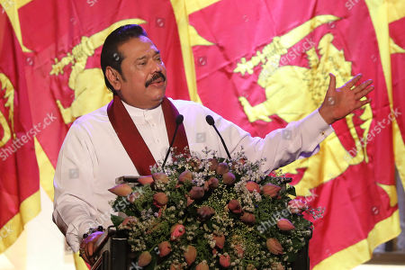 Opposition leader and former President of Sri Lanka Mahinda Rajapaksa addresses the party supporters during the Sri Lanka Podujana Peramuna's (SLPP) national convention held at the Sugathadasa Indoor Stadium in Colombo, Sri Lanka, 11 August 2019. The SLPP is an alternative political party formed by Mahinda Rajapaksa supporters after his defeat and their Sri Lanka Freedom Party (SLFP) headed by President Maithripala Sirisena.