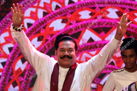 Opposition Leader and former President of Sri Lanka Mahinda Rajapaksa acknowledges the cheering as he is announced as the leader of the Sri Lanka Podujana Peramuna (SLPP) at the party?s national convention held at the Sugathadasa Indoor Stadium in Colombo, Sri Lanka, 11 August 2019. The SLPP is an alternative political party formed by Mahinda Rajapaksa supporters after his defeat and their Sri Lanka Freedom Party (SLFP) headed by President Maithripala Sirisena.