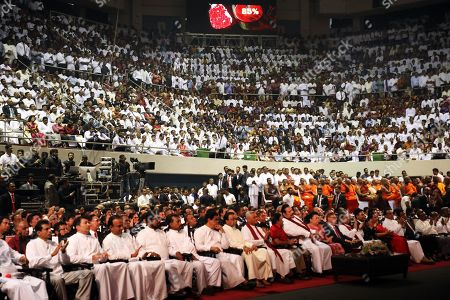 General view of Sri Lanka Podujana Peramuna (SLPP) members and supporters at the party national convention held at the Sugathadasa Indoor Stadium in Colombo, Sri Lanka 11 August 2019. The SLPP is an alternative political party formed by Mahinda Rajapaksa supporters after his defeat and their Sri Lanka Freedom Party (SLFP) headed by President Maithripala Sirisena.
