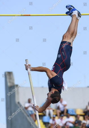 Renaud Lavillenie of France competes in the men's men's Pole Vault final during the European Athletics Team Championships Super League in Bydgoszcz, Poland, 11 August 2019.