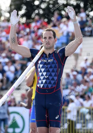 Renaud Lavillenie of France compete in the men's men's Pole Vault final during the European Athletics Team Championships Super League in Bydgoszcz, Poland, 11 August 2019.