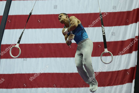 Stock Photo of Gymnast Trevor Howard competes during day two of the US Gymnastics Championships, held in Kansas City, MO. Melissa J