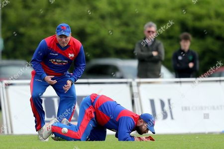 Malahide vs Clontarf. Clontarf's Robert Forrest and Conor Kelly