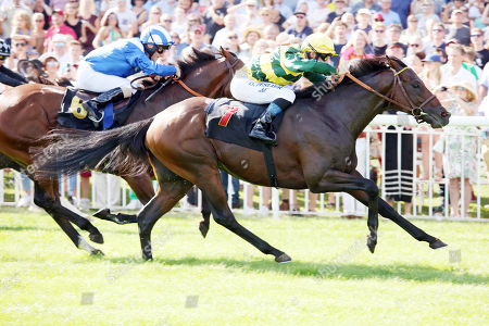 , Hoppegarten, Red Torch with Olivier Peslier up wins at Hoppegarten racecourse, Germany.