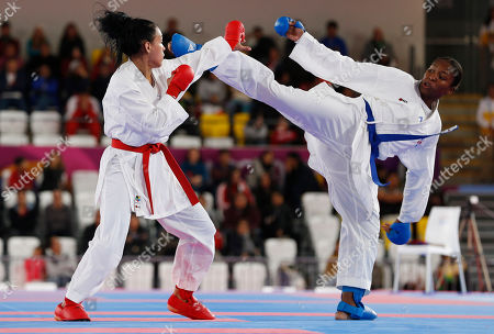Stock Image of Pamela Rodriguez of the Republic Dominican, right, and Omaira Molina of Venezuela compete in a women's karate under 68kg gold medal match at the Pan American Games in Lima, Peru