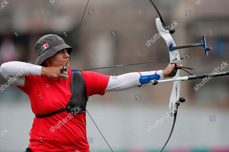 Stock Image of Alejandra Valencia of Mexico competes to win the gold medal against Khatuna Lorig of the United States in the women's archery recurve individual final at the Pan American Games in Lima, Peru