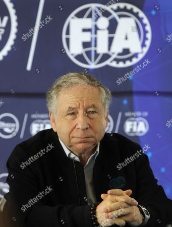 The president of the FIA, Jean Todt, speaks during a press conference in Mexico City, Mexico, on 11 August 2019. The head of the Government of Mexico City, Claudia Sheinbaum, signed last Thursday with the authorities of Formula One the extension of the Grand Prix contract of Mexico as part of the season until 2022.