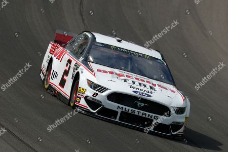 Brad Keselowski races during a NASCAR Cup Series auto race at Michigan International Speedway in Brooklyn, Mich