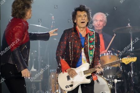 The Rolling Stones - Mick Jagger, Ronnie Wood and Charlie Watts