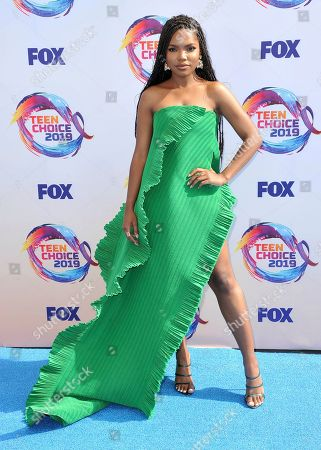Stock Picture of Ryan Destiny arrives at the Teen Choice Awards, in Hermosa Beach, Calif