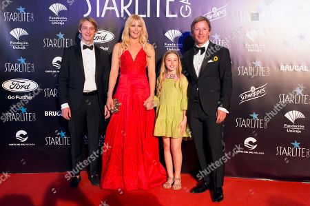 Valeria Mazza (2-L) and family arrive to the Marbella's Starlite Festival charity gala held in Malaga, southern Spain, 11 August 2019.