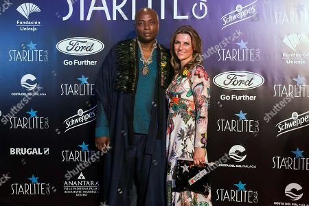 Princess Martha Louise of Norway (R) and Shaman Durek (L) arrive to the Marbella's Starlite Festival charity gala held in Malaga, southern Spain, 11 August 2019.