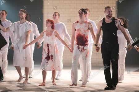 Ben Brown (Mercutio), Cordelia Braithwaite (Juliet), Paris Fitzpatrick (Romeo) and Dan Wright (Tybalt) during the curtain call