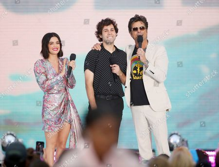John Stamos, David Dobrik, Lucy Hale. John Stamos, right, and Lucy Hale, left, present the choice male web star award to David Dobrik at the Teen Choice Awards, in Hermosa Beach, Calif