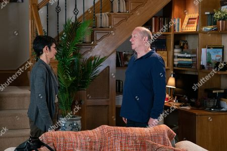 Ep 9851 Monday 19th August 2019 - 1st Ep Yasmeen Nazir, as played by Shelley King, is horrified to discover that Geoff Metcalfe, as played by Ian Bartholomew, has set up security cameras all over the house for her safety. When she says she doesn't want them Geoff accuses her of not considering his feelings and says it is over between them.