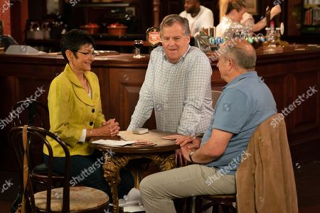 Ep 9850 Friday 16th August 2019 - 2nd Ep As the bridge night descends into chaos and allegations of cheating Geoff Metcalfe, as played by Ian Bartholomew, takes it out on Yasmeen Nazir, as played by Shelley King, and back at home accuses her of undermining him. With Brian Packham, as played by Peter Gunn.
