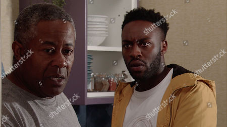 Ep 9852 Monday 19th August 2019 - 2nd Ep Ed Bailey, as played by Trevor Michael George, admits to Michael Bailey, as played by Ryan Russell, he's in a financial hole and £5k would sort it out.