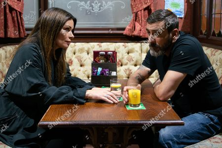 Ep 9846 Monday 12th August 2019 - 2nd Ep Carla Connor, as played by Alison King, tells Peter Barlow, as played by Chris Gascoyne, she has turned Jo's job offer down.
