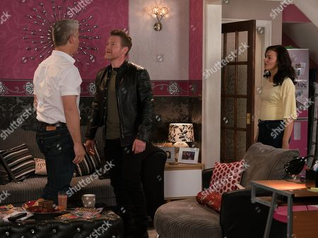 Ep 9845 Monday 12th August 2019 - 1st Ep Robert Preston, as played by Tristan Gemmill, takes Vicky, as played by Kerri Quinn, on a shopping trip but is frustrated when they get home and Jed, as played by Branwell Donaghey, and Tyler, as played by Will Barnett, arrive. Robert is scathing and Jed punches him knocking him out.
