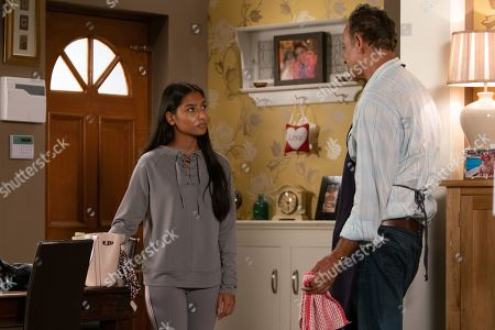 Ep 9848 Wednesday 14th August 2019 - 2nd Ep Asha Alahan, as played by Tanisha Gorey, returns home and assures Dev Alahan, as played by Jimmi Harkishin, she's had a lovely day. When she drops her bag and the contents spill out, she quickly scoops up a tub of skin-lightening cream hoping he hasn't spotted it.