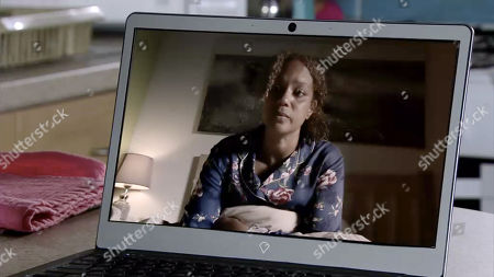 Ep 9854 Wednesday 21st August 2019 - 2nd Ep News of Steve's paternity spreads with varying reactions. Emma skypes her mum - Fiona, as played by Angela Griffin.