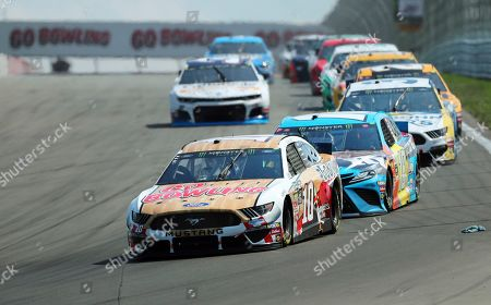 Aric Almirola heads into Turn 1 during a NASCAR Cup Series auto race at Watkins Glen International, in Watkins Glen, N.Y
