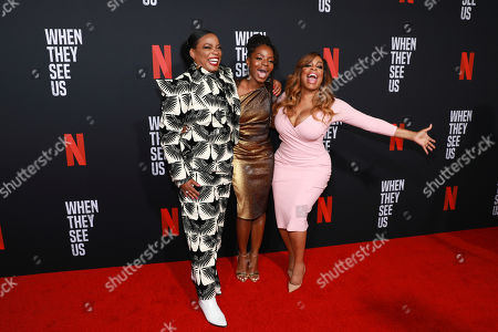 "Aunjanue Ellis, Marsha Stephanie Blake, Neicy Nash. Aunjanue Ellis, on left, Marsha Stephanie Blake and Neicy Nash attend the ""When They See Us"" FYC screening at Paramount studios on in Los Angeles"