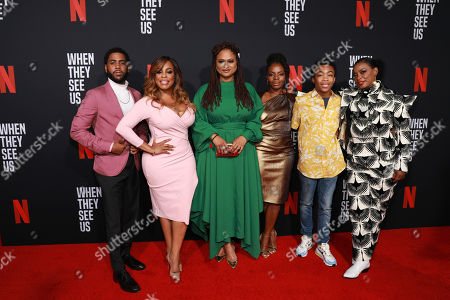"Jharrell Jerome, Niecy Nash, Ava Duvernay, Marsha Stephanie Blake, Asante Blackk, Aunjanue Ellis. Jharrell Jerome, on left, Niecy Nash, Ava Duvernay, Marsha Stephanie Blake, Asante Blackk, and Aunjanue Ellis attend the ""When They See Us"" FYC screening at Paramount studios on in Los Angeles"