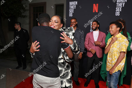 "Ethan Herisse, on left, Aunjanue Ellis, Kris Bowers, Jharrell Jerome, Asante Blackk, Ava Duvernay. Ethan Herisse, on left, Aunjanue Ellis, Kris Bowers, Jharrell Jerome, Asante Blackk, and Ava Duvernay attend the ""When They See Us"" FYC screening at Paramount studios on in Los Angeles"