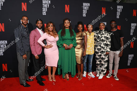 "Kris Bowers, Jharrell Jerome, Niecy Nash, Ava Duvernay, Marsha Stephanie Blake, Asante Blackk, Aunjanue Ellis, Ethan Herisse. Kris Bowers, on left, Jharrell Jerome, Niecy Nash, Ava Duvernay, Marsha Stephanie Blake, Asante Blackk, Aunjanue Ellis, Ethan Herisse attend the ""When They See Us"" FYC screening at Paramount studios on in Los Angeles"