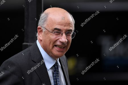 Stock Photo of Lord Leveson leaves No.10 Downing Street after an urgent review of sentencing policy.