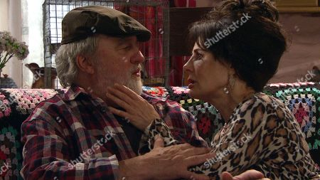 Stock Picture of Ep 8566 Wednesday 14th August 2019 Faith Dingle, as played by Sally Dexter, manages to get Zak Dingle, as played by Steve Halliwell, back into talking about their shared history even managing to get Zak to smile. As they reminisce over old times there is a brief kiss between them before the door springs open as the others return home.