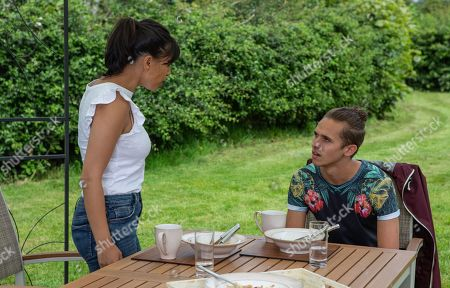 Ep 8575 Thursday 22nd August 2019 - 2nd Ep A sympathetic Priya Sharma, as played by Fiona Wade, invites Jacob Gallagher, as played by Joe Warren Plant, to join her for lunch and is dumbfounded by his behaviour.