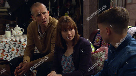 Ep 8565 Tuesday 13th August 2019 - 2nd Ep Sam Dingle, as played by James Hooton, and Lydia, as played by Karen Blick, are shocked by Samson's, as played by Sam Hall, angry reaction to Lydia's past can they win him round?