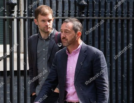 Cyclist, Chris Boardman (Right), arrives for the meeting.