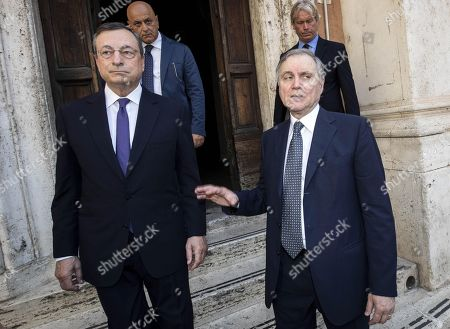 Stock Photo of President of the European Central Bank, Italian Mario Draghi (L) and Bank of Italy Governor Ignazio Visco (R) attend the funeral service of late Italian banker Fabrizio Saccomanni, in Rome, Italy, 12 August 2019. UniCredit chairman Fabrizio Saccomanni died on 08 August 2019 at the age of 76.