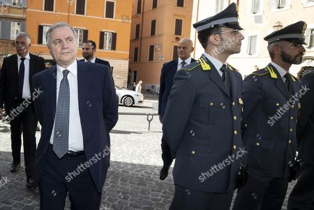 Bank of Italy Governor Ignazio Visco (L) attends the funeral service of late Italian banker Fabrizio Saccomanni, in Rome, Italy, 12 August 2019. UniCredit chairman Fabrizio Saccomanni died on 08 August 2019 at the age of 76.