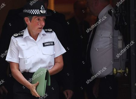 Metropolitan Police Commissioner Cressida Dick departs 10 Downing Street in London,  Britain, 12 August 2019. British Prime Minister Boris Johnson hosted a round-table meeting on crime.
